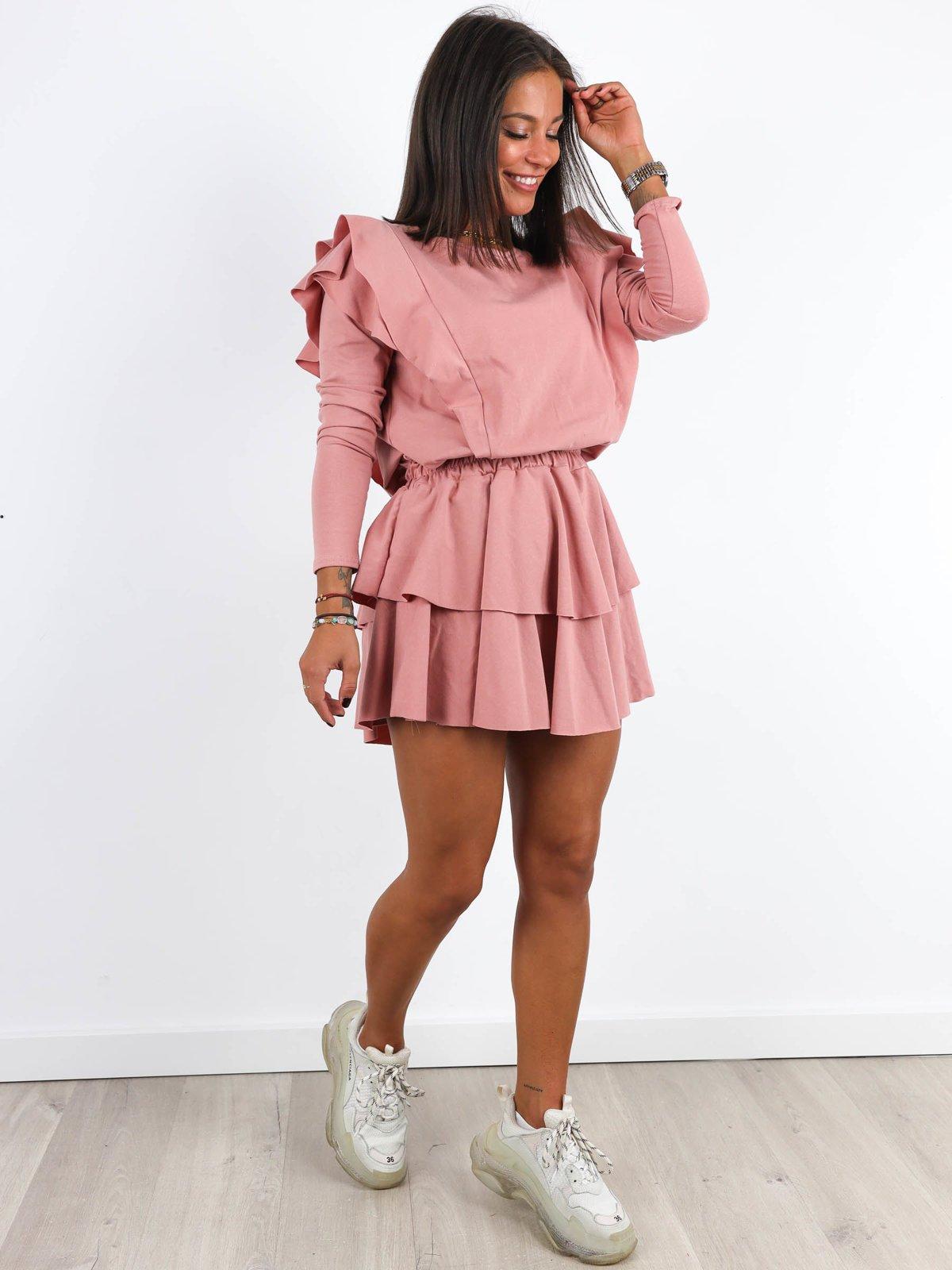 Bawelniana Asymetryczna Sukienka Falbanki Brudny Roz A209 K01 Rozowy Brudny Sukienki Sukienki Z Dlugim Rekawem Sukienki Wszystkie Nowosci Sukienki Sukienki Bez Dekoltu Sukienki Sukienki Mini Sukienki