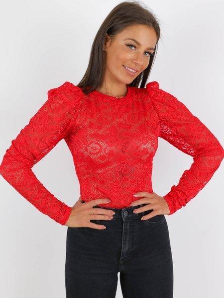 Koronkowa Bluzka Z Bufkami Czerwona A38 K01 Czerwony Bluzki Bluzki Z Długim Rękawem Bluzki Wszystkie Bluzki Bluzki Dopasowane Bluzki Bluzki Bez Dekoltu Wassyl Creative Fashion